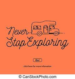 exploring.travel, nie, halt, concept., abenteuer