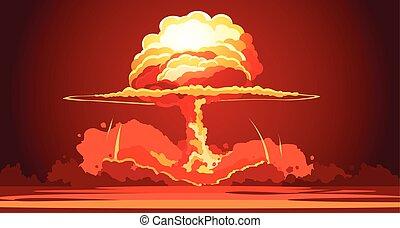 explosão, cogumelo, nuclear, retro, cartaz, nuvem