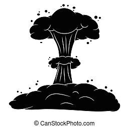 explosão, cogumelo, nuclear, símbolo, silueta, vetorial,...