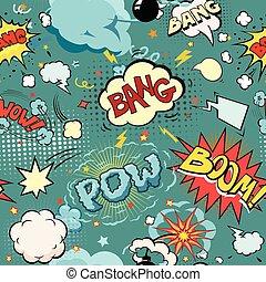 explosão, diferente, explosão, set., seamless, livro, bolhas, bombas, arrows., sons, cômico, fala