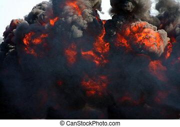 explosão, e, fumaça preta