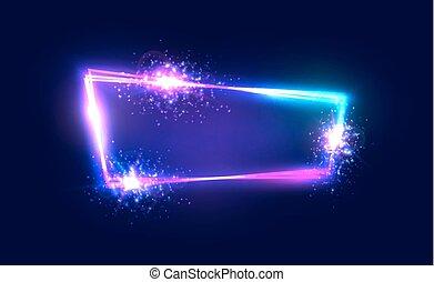 explosão, effect., quadro, néon, rua, em branco, style., backdrop., azul, fogo artifício, retro, 80s, brilhar, 3d, elétrico, coloridos, clube, signboard, sinal., ilustração, escuro, tecno, luz, vetorial, noturna