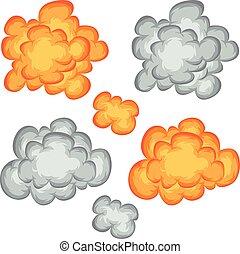 explosão, jogo, nuvens, livro, fumaça, cômico