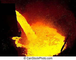 explosão, metal, fornalha, líquido