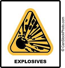 explosão, símbolo, triangulo