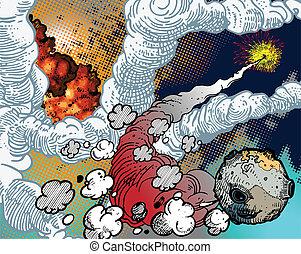 explosões, espaço