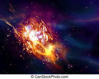 exploser, étoile, espace