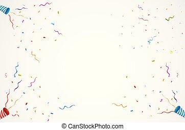 exploser, confettid, fête, backgroun, fond, anniversaire, popper, boîte-cadeau