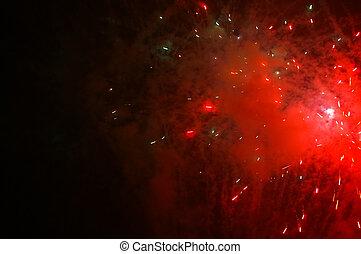 exploser, feux artifice, s, sombre, rouges