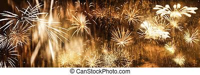 exploser, nouveau, feux artifice, année, fond