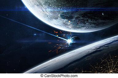exploser, planète, -, apocalyptique, fond