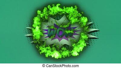 exploser, retro, boom, texte, parole, contre, vert, sur, fond, fumée, bulle