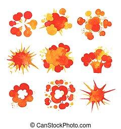explosión, conjunto, efecto, acuarela, fuego, vector, ilustraciones, explosiones