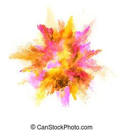 explosión, de, coloreado, polvo, blanco, plano de fondo