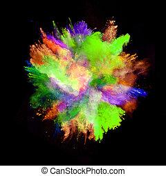explosión, de, coloreado, polvo, en, fondo negro