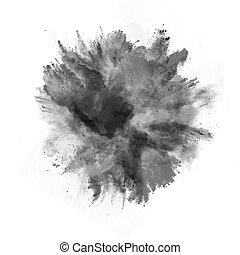 explosión, de, negro, polvo, blanco, plano de fondo