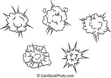 explosión, nubes, caricatura