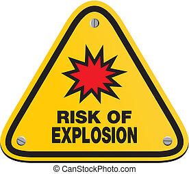 explosión, -, triángulo, riesgo, señal