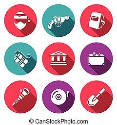 explosif, ensemble, banque, système, trésor, icons., arme, voleur, vecteur, équipement, vol, underpass., sécurité, soudeur, banque