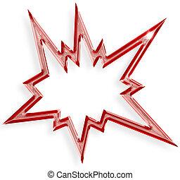 explosif, isolé, fond, étoile, blanc rouge