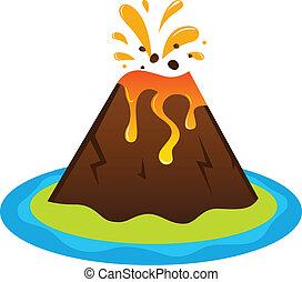 explosing, vulcão, ilha, isolado, branco