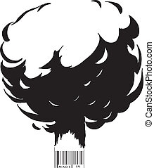 Explosion and bar code - The explosion and the bar code text...