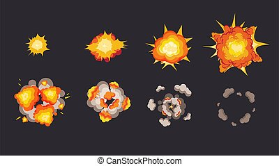Explosion animation in storyboard. Energy detonating ...