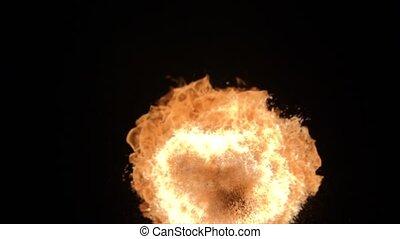 explosion, balle, brûler, isolé, élevé, arrière-plan., appareil photo, flamme, vitesse, noir