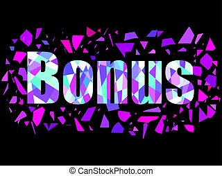 explosion., banner., chaotisch, vliegen, partikels, illustratie, bonus, vector, geometrisch, glas, cijfers.