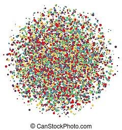 explosion., barwny, odizolowany, ilustracja, wektor, tło, confetti, biały, okrągły