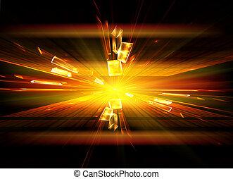 Explosion, broken glass, burst of light, abstract illustration