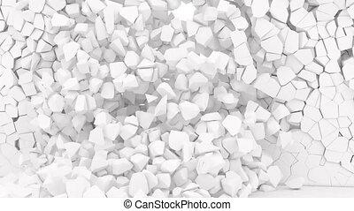 Explosion break fracture white wall 4k