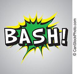 explosion, -, buch, komiker, blase, heftiger schlag