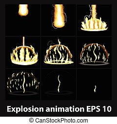 Explosion, cartoon explosion animation frames for game. Sprite sheet on dark background