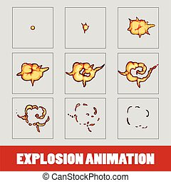 Explosion, cartoon explosion animation frames for game. Sprite sheet on dark background. Smoke animation