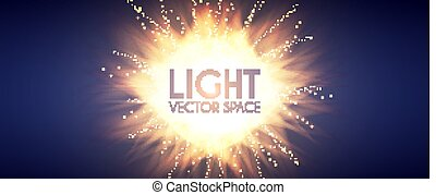 Explosion. Colorful Light and Burning Fire Effect. Sun and Flash. Futuristic Motion Space.