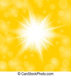 explosion., csillag, starburst, sárga, izzó, szikrázó, háttér, fény, pattog