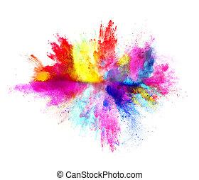 explosion, de, coloré, poudre, blanc, fond