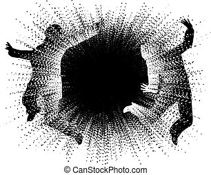 Editable vector illustration of two people caught in an explosion