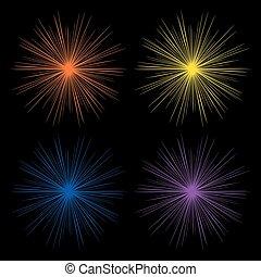 explosion., effect., lumière, incandescent, blanc, lueur