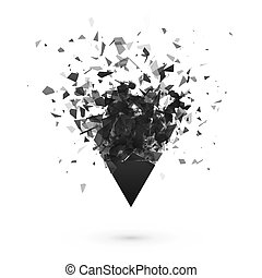 Explosion effect. Shatter dark triangle. Abstract cloud of ...