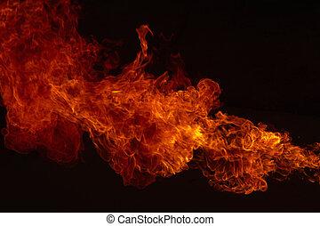 explosion, feuerflammen, feuer, flamme, hintergrund