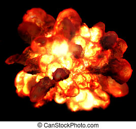 Explosion fire isolated on black background. Detonation bomb as game.