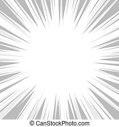 explosion, flash, arrière-plan., vecteur, radial, livre comique