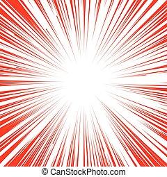 explosion, flash, lignes, arrière-plan., livre, radial, comique, manga
