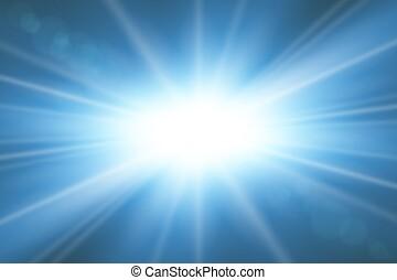 explosion., gold, effect., effekt, hell, rays., blaues, flash., hintergrund., sonne ausbruch, freigestellt, funkeln, glühen, abstrakt, stern, starburst, beams., abbildung, linse, scheinen, magisches, beschwingt, vektor, licht
