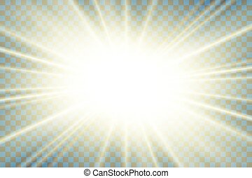 explosion., gold, effect., effekt, hell, rays., flash., funkeln, sonne ausbruch, freigestellt, hintergrund., glühen, abstrakt, stern, starburst, beams., abbildung, linse, durchsichtig, scheinen, magisches, beschwingt, vektor, licht