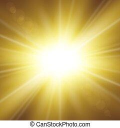 explosion., gold, effect., effekt, hell, rays., flash., hintergrund., sonne ausbruch, freigestellt, funkeln, glühen, abstrakt, stern, starburst, beams., abbildung, linse, scheinen, magisches, beschwingt, vektor, licht
