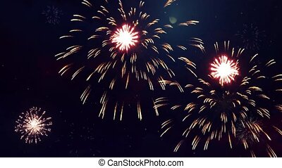 Explosion gold lights sparkles Glowing light fireworks explosions Loop Animation Background.