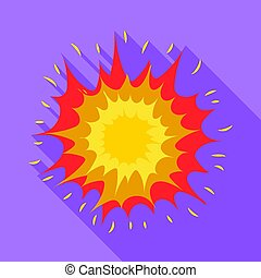 Explosion icon in flat style isolated on white background. Explosions symbol stock vector illustration.